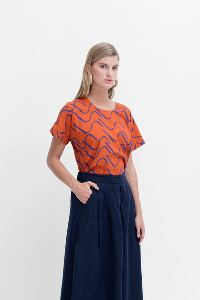 Ollie Printed Top Model Styled Front Angled  | COPPER/COBALT