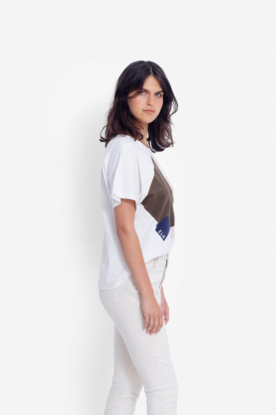 Airi Boxy Tee Model Side | WHITE