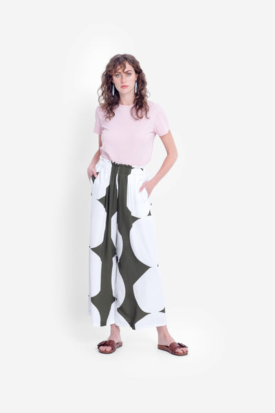 Kalla Wide Leg Pant Model Front 2 | OLIVE / WHITE