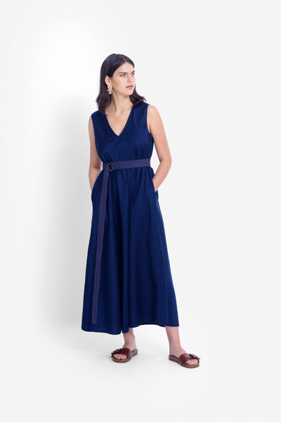 Karis Organic Cotton Maxi Dress Model Front | DEEP BLUE