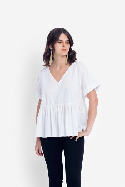 Karis Organic Cotton Smock Top Model Front | WHITE