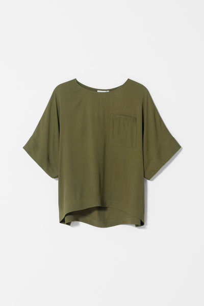 Airi Boxy Cut Short Sleeve Top Front OLIVE