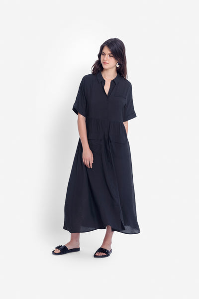 Aissa Shirt Dress Model Front | BLACK