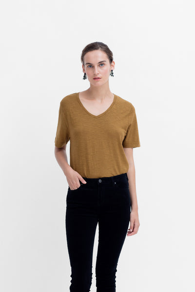 Rannell Hemp & Cotton V-Neck Tee Model Styled Front | DIJON