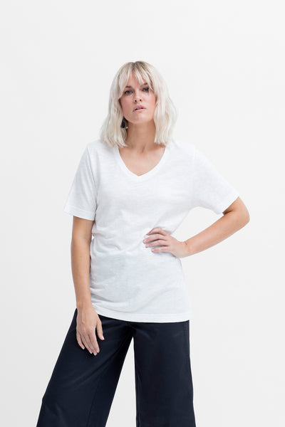 Rannell Hemp & Cotton V-Neck Tee Model Front | OPTIC WHITE