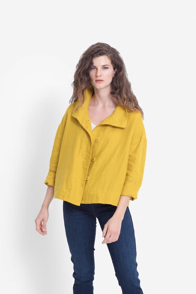 French Linen Dahme Jacket Model Front | SAFFRON