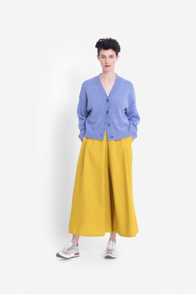 Dahme French Linen Wide Leg Pant Model Front | SAFFRON