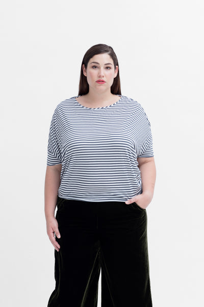 Remnant Stripe Circle Tee Model Front | Charcoal / White