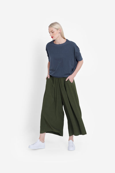 Arden Relaxed Wide Leg Pant Model Front | Olive