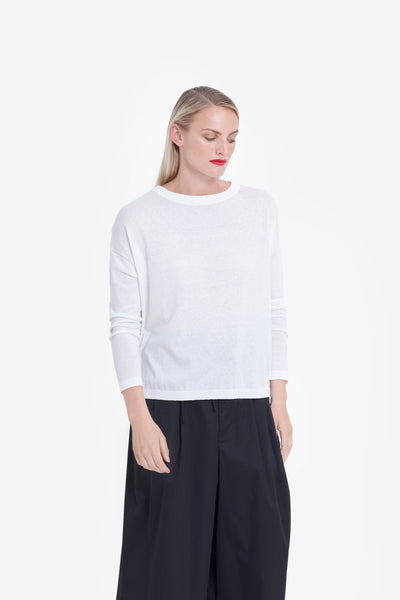 Avesta Long Sleeve Knit Sweater Model Front | White