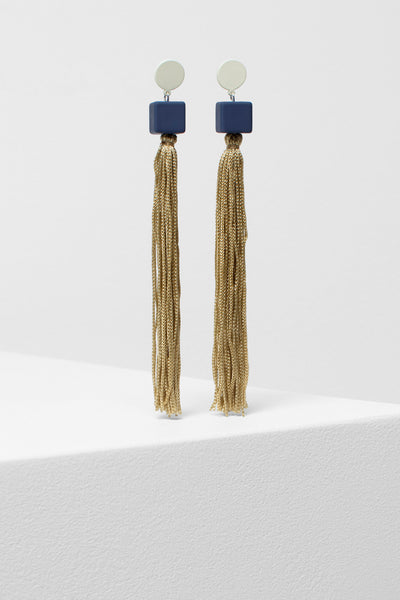 Mai Tassel Earrings  CLAY/NAVY/CREAM
