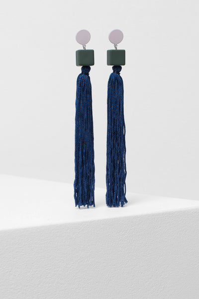 Mai Tassel Earrings NAVY/OLIVE/BLUSH