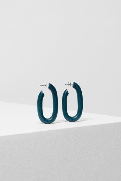 Adora Handmade Timber Hoop Earrings Front TEAL