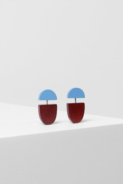 Sten Geometric Timber Earring Front POWDER BLUE/RUST