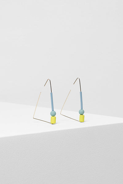 Dakin Geometric Fine Drop Earring Side Angled | MID GREY / MINT / LEMON