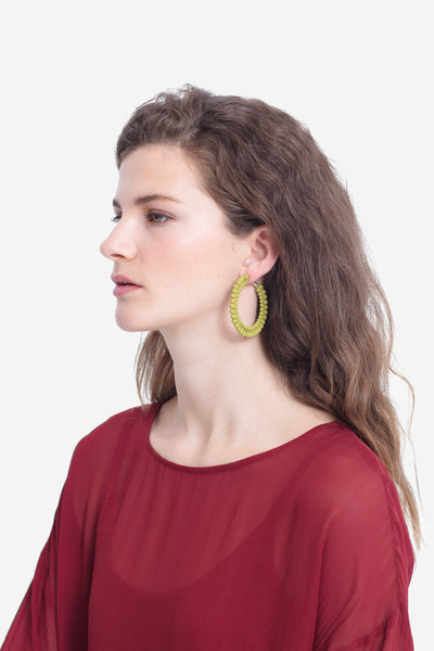 Folke Statement Hoop Earring Model Front CITRONELLE