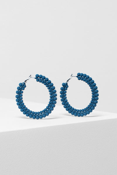 Folke Statement Hoop Earring Front TEAL BLUE