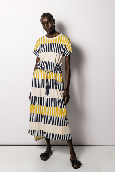 MFW Campaign Valby T-Shirt Dress | NAVY STRIPE MIX