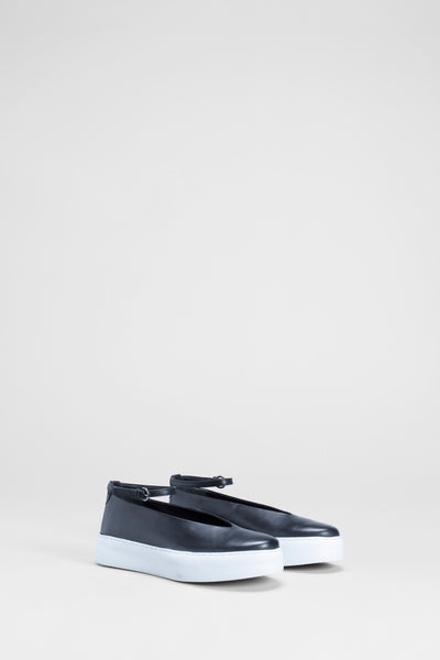 Caisa Leather Ankle Strap Platform Flats Side | Black