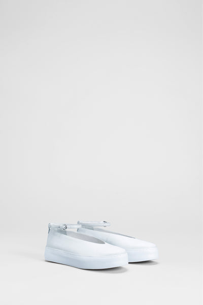 Caisa Leather Ankle Strap Platform Flats | Off White / White