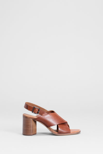 Agata Block Heeled Leather Sandal Side  | TAN