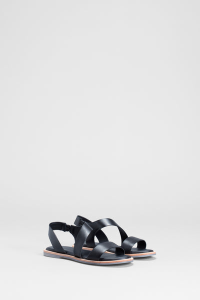 Ittre Leather Multi Strap Sandals Side Front | BLACK