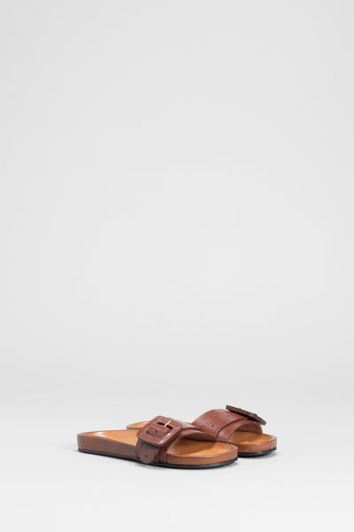 Runa Leather Sandal Slide Front | TAN
