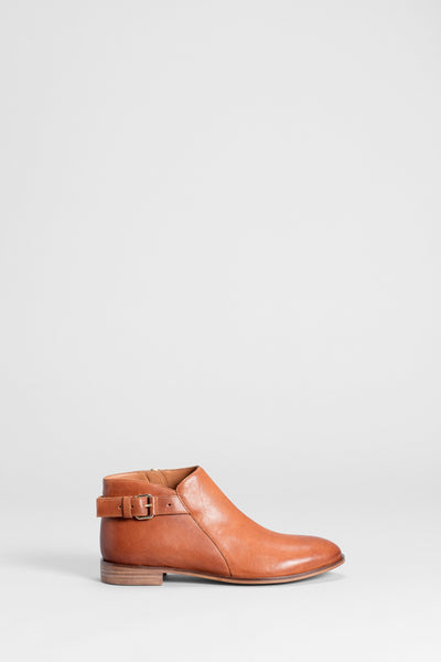 Lars Leather Buckle Ankle Boot Side TAN