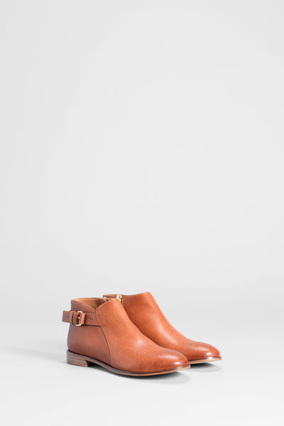 Lars Leather Buckle Ankle Boot Front Angled TAN