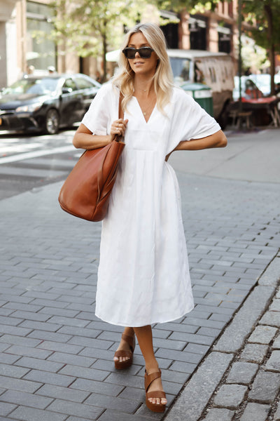 Flekke Oversized Mid Length Dress Model Front Lifestyle | White