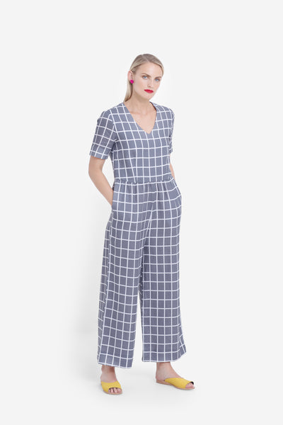 Hopen French Linen Wide Leg Jumpsuit Model Front Styled | Grey / White