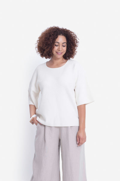 Glenna Loose Fitted Knit Sweater Model Front | White