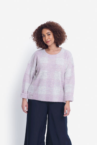 Jelica Soft Crew Neck Knit Sweater Model Front | Lilac Check
