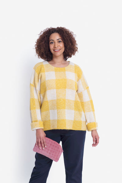 Jelica Soft Crew Neck Knit Sweater Model Front | Daffodil Check