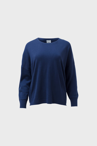 Katalin Merino Wool Blend Relaxed Sweater Front | Blue