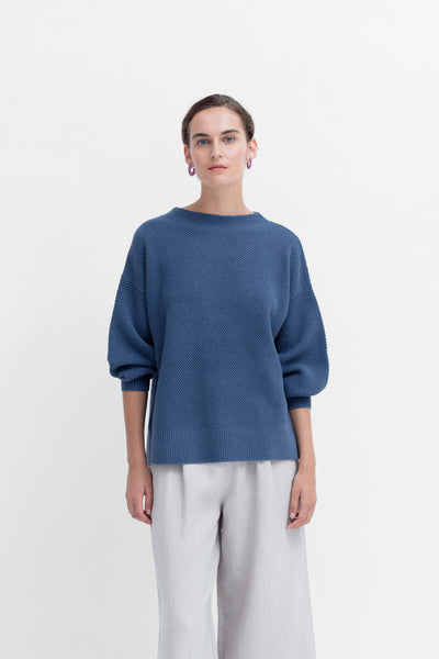 Betina Oversized Slouchy Balloon Sleeve Sweater Model Styled Front | Stormy Sea