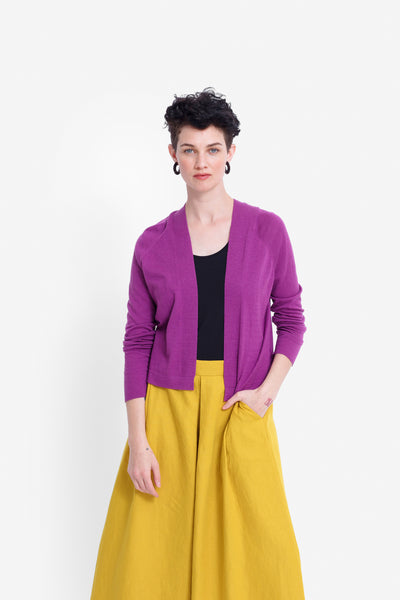 Leidi Cropped Lightweight Knit Cardigan Model Front | MAGENTA