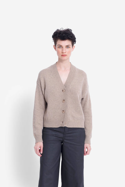 Aden Cropped V-Neck Cardigan Model Front | OATMEAL