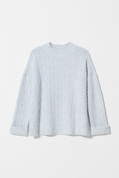 Boden Wide High Neck Knit Sweater Front ICE FLECK