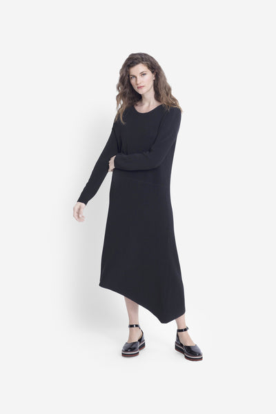 Jarl Textured Rib Knit Mid Length Dress Model Front BLACK