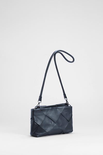 Ginette Woven Leather Bag Front | Black