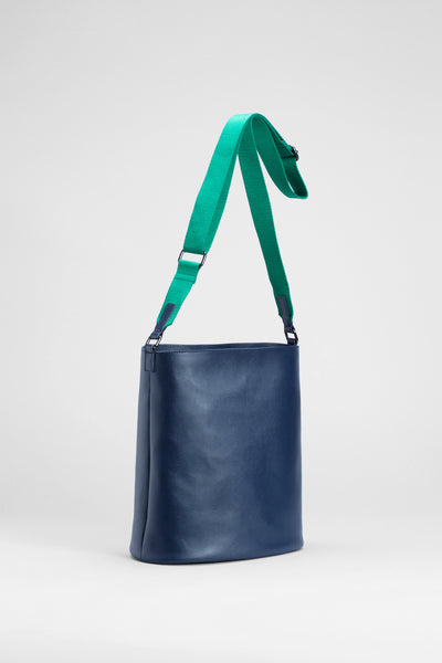 Leni Recycled Leather Large Bag Front | Navy / Green
