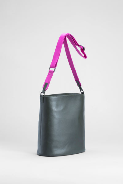 Leni Recycled Leather Large Bag Front | Olive / Freesia