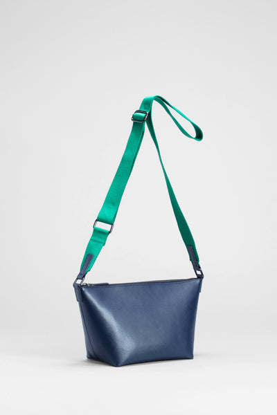 Leni Recycled Leather Small Bag Back | Navy / Green