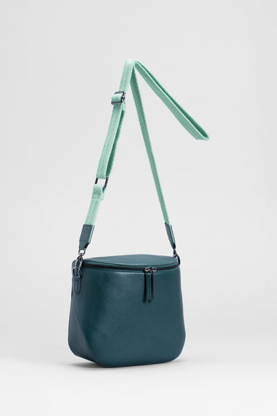 Gera Small Leather Handbag Adjustable Strap Front | GREEN
