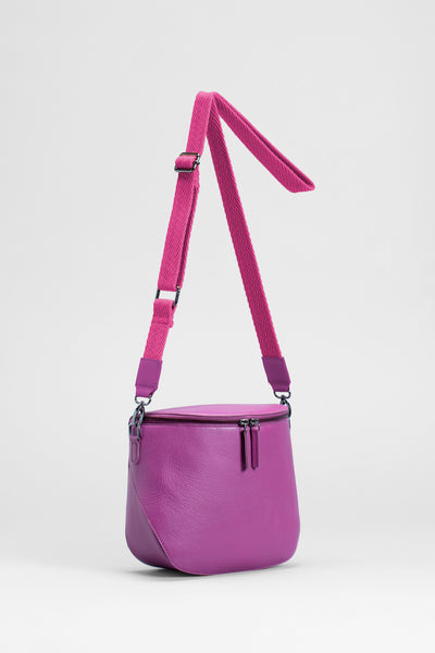 Gera Small Leather Handbag Adjustable Strap Front | GRAPE