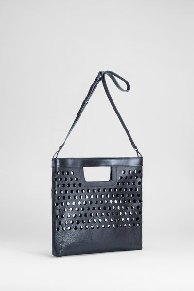 Barta Large Leather Bag Front | BLACK