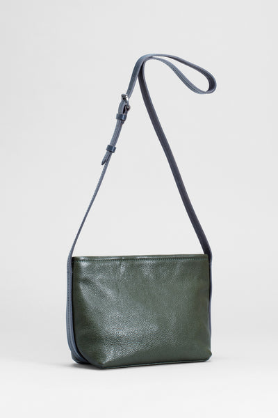 Canutte Leather Bag Front | GREEN TEA / NAVY