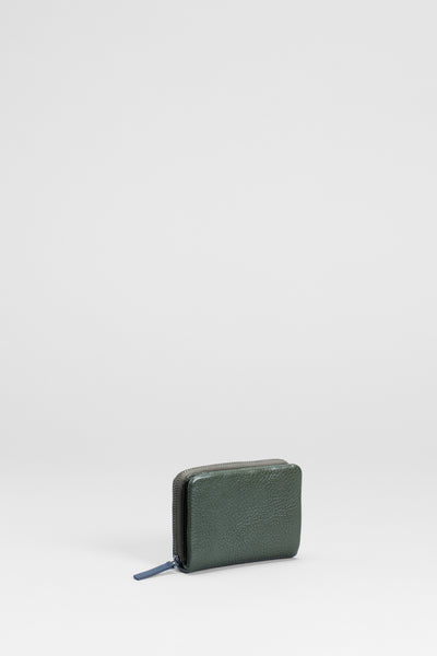 Canutte Leather  Wallet Front | GREEN TEA / NAVY