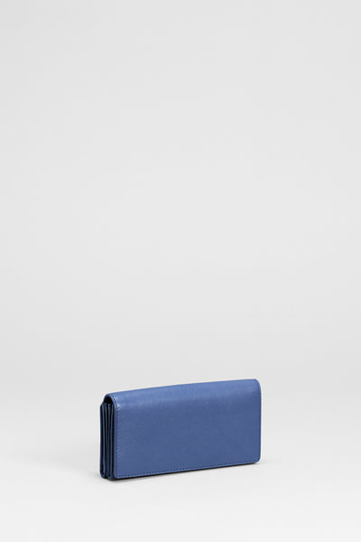 Leone Colourful Leather Wallet Front Angled STEEL